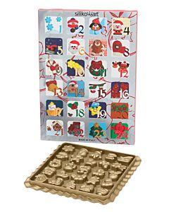 Silikomart bonbonvorm adventskalender 20,5 x 20,5 cm silicone goudkleurig