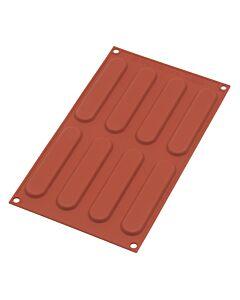 Silikomart bakvorm 8 éclairs 12,5 x 2,8 cm silicone bruin