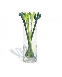 Qualy Cactus roerstaafjes kunststof groen 6 stuks