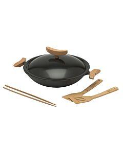 Spring wokset ø 35 cm met deksel gietijzer zwart