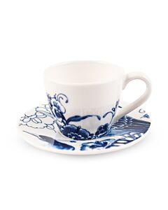 Royal Delft Peacock Symphony koffiekop + schotel 100 ml aardewerk