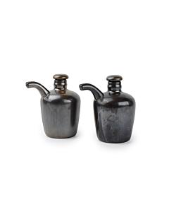 Fine-to-Dine Escura olie- en azijnfles 160 ml porselein metallic 2-delig