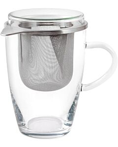 Oldenhof Lyra theeglas met zeef en deksel 350 ml glas rvs 2-delig
