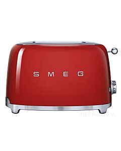 SMEG 50's style broodrooster 2 sleuven staal rood