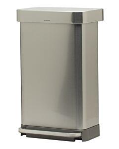 Simplehuman Rectangular step can 45 liter met liner pocket rvs