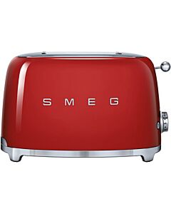 Smeg 50's style broodrooster lang 2 sleuven staal rood