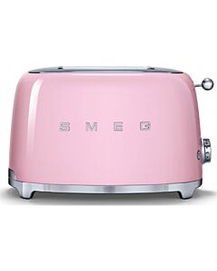 SMEG 50's style broodrooster lang 2 sleuven staal roze