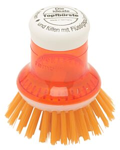 Redecker pannenborstel met doseersysteem kunststof oranje