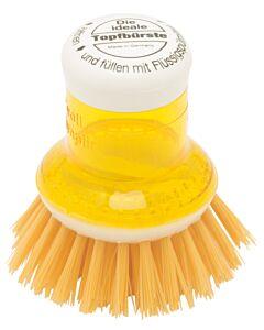 Redecker pannenborstel met doseersysteem kunststof geel
