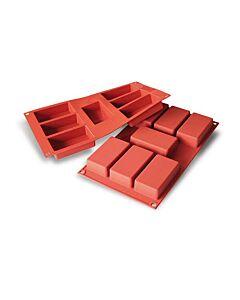 Silikomart bakmat 7 rechthoeken 8,7 x 4,8 cm silicone bruin