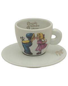 Lucaffe Piccolo & Dolce cappuccinokop en schotel aardewerk wit