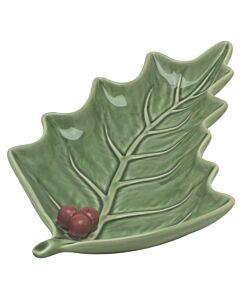 Oldenhof hulstblad schaal 27,5 x 15,5 cm aardewerk hulstblad