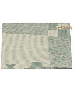 Knit Factory handdoek grachtenpanden 50 x 50 cm katoen acryl Stone Green ecru