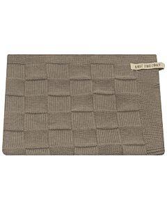 Knit Factory handdoek geruit 50 x 50 cm katoen acryl grijs effen