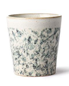 HK Living 70's Hail mok 200 ml aardewerk crème-groen