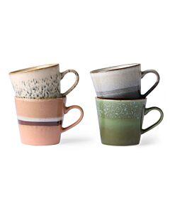 HK Living 70's cappuccinomok 300 ml aardewerk set van 4