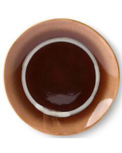 HK Living 70's dessertbord stream ø 17,5 cm crème bruin