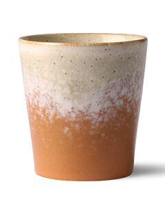 HK Living 70's Jupiter mok 200 ml aardewerk crème-oranje