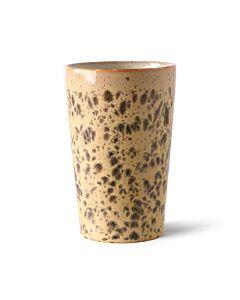 HK Living 70's Tiger theemok 475 ml aardewerk bruin-crème