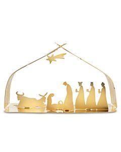 Alessi BM09 W Bark Crib kerststal 23 cm staal goud