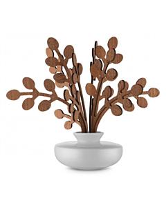 Alessi The Five Seasons geurverdeler Brrr ø 11,5 cm h 22,5 cm porselein/mahonie wit/bruin