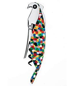 Alessi Parrot kelnermes/kurkentrekker kunststof / aluminium gekleurd