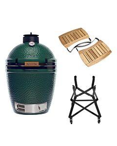 Big Green Egg Medium barbecue ø 38 cm keramiek groen met onderstel en Acaciahouten zijtafels
