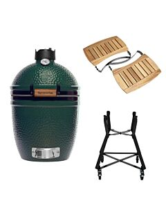 Big Green Egg Small barbecue ø 33 cm keramiek groen met onderstel en Acaciahouten zijtafels
