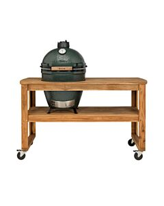 Big Green Egg Acacia Table incl. nest, wielen en Extra Large barbecue