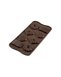 Silikomart EasyChoc Biscuits bonbonvorm silicone bruin