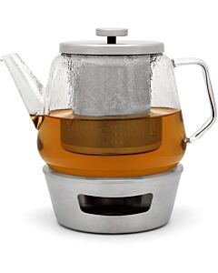 Bredemeijer Solo Bari theeset met RVS warmer en filter 1,5 L glas