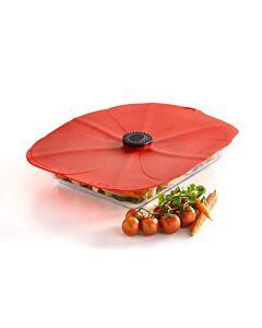 Charles Viancin Poppy rechthoekige deksel 35 x 25 cm silicone rood