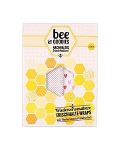 Bee Goodies herbruikbare Food Wraps M/L hartjes roze 2-delig