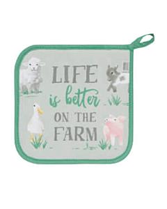 Now Designs Farmhouse pannenlap 20 x 20 cm katoen groen