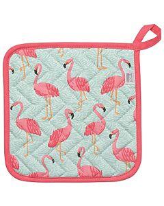 Now Designs Flamingos pannenlap 20 x 20 cm katoen blauw