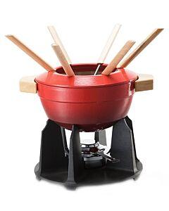 Le Creuset fondueset met houten handgrepen 2 liter gietijzer kersrood
