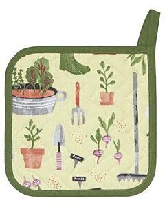 Now Designs Garden pannenlap 20 x 20 cm katoen geel/groen