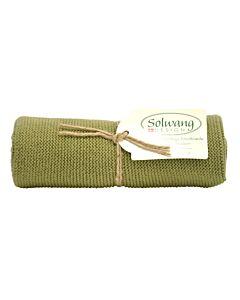 Solwang Design handdoek 32 x 47 cm katoen donker olijf