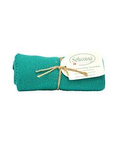 Solwang Design handdoek 32 x 47 cm katoen donker turquoise