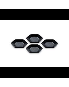 Le Creuset Hexagon serveerschaaltje 9,5 cm aardewerk zwart 4 stuks
