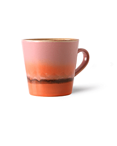 HK Living 70's Mars Americano mok 260 ml aardewerk roze-oranje