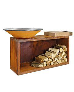 OFYR Island 85-100 vuurkorf - barbecue met meubel en plank van teakhout