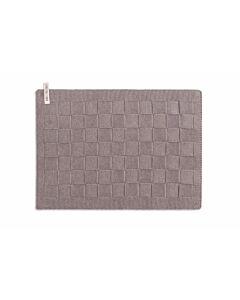Knit Factory gastendoek / placemat 50 x 30 cm katoen acryl taupe