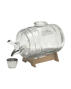 Kilner Barrel dispenser 1 liter glas rvs hout