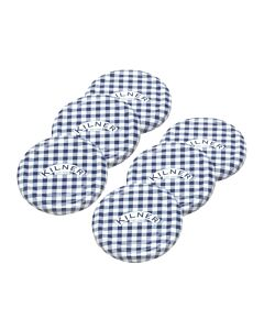 Kilner weckpot deksels ø 6,3 cm blauw-wit geruit 6 stuks