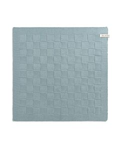 Knit Factory handdoek geruit 50 x 50 cm katoen acryl Stone Green