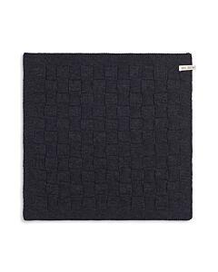 Knit Factory handdoek geruit 50 x 50 cm katoen acryl antraciet