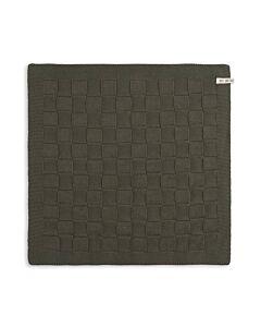 Knit Factory handdoek geruit 50 x 50 cm katoen acryl kaki