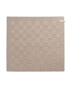 Knit Factory handdoek geruit 50 x 50 cm katoen acryl beige effen
