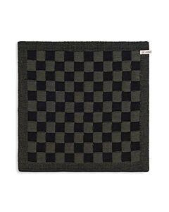 Knit Factory handdoek geruit 50 x 50 cm katoen acryl zwart kaki